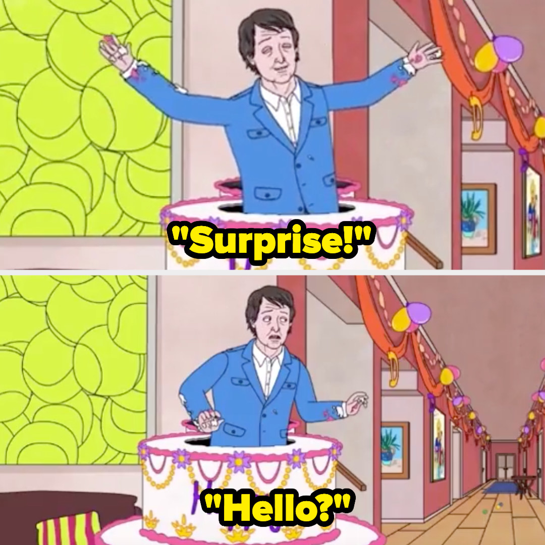 """Paul McCartney bursts out of a cake yelling """"Surprise!"""" then looks around in confusion, saying """"Hello?"""""""