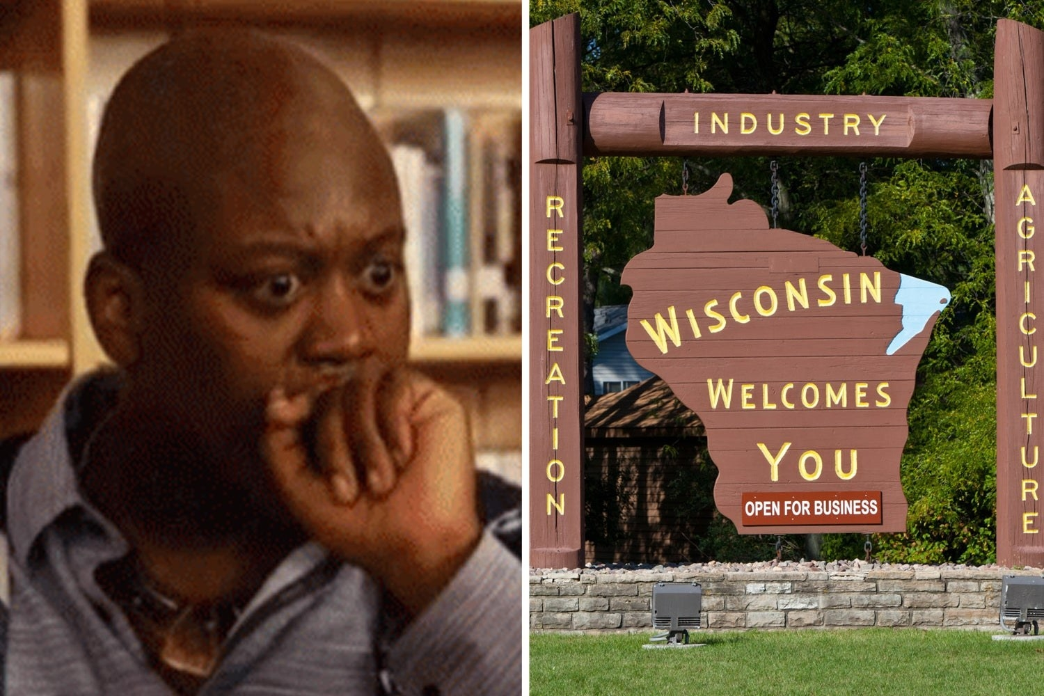 """Titus from """"Unbreakable Kimmy Schmidt"""" looking shocked and the Welcome to Wisconsin sign"""