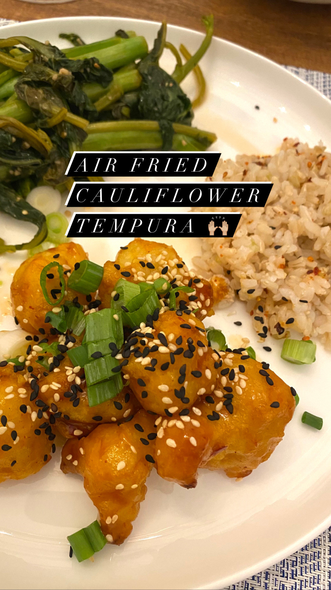 Air-fried cauliflower tempura with rice and greens.