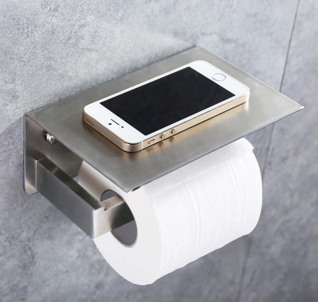 The toilet paper holder in brushed nickel