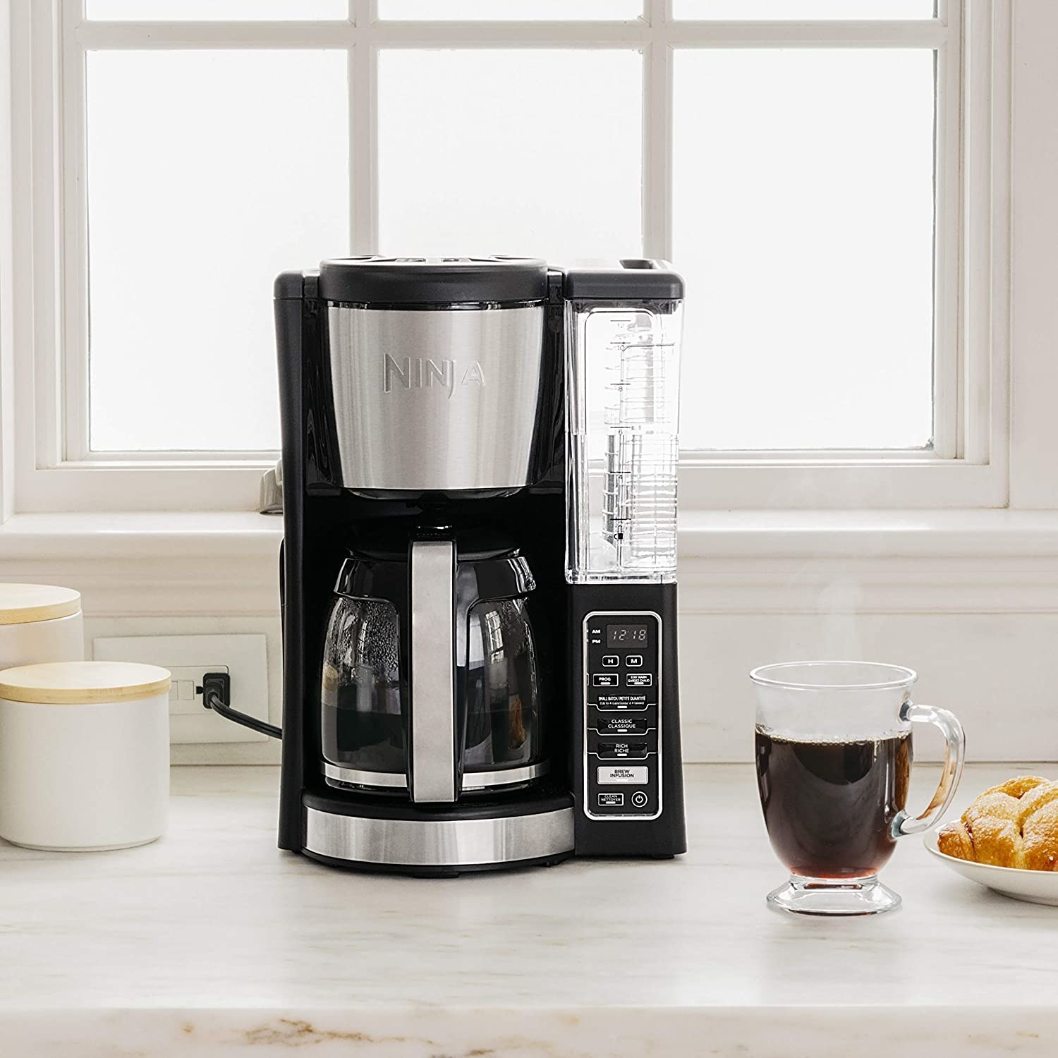 the coffee maker on a countertop