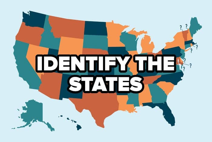 """Colorful United States map with the words """"Identify the states"""""""