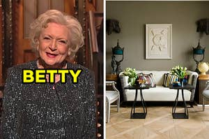 """On the left, Betty White labeled """"Betty,"""" and on the right, a chic living room with wooden floors, a leather couch, and two tables in front of the couch with plants on top"""