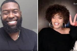 Side by side photos of Trevante Rhodes smiling and Andra Day holding up a peace sign