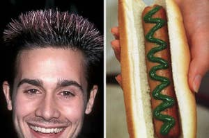 freddie prinze jr frosted tips and green ketchup hot dog