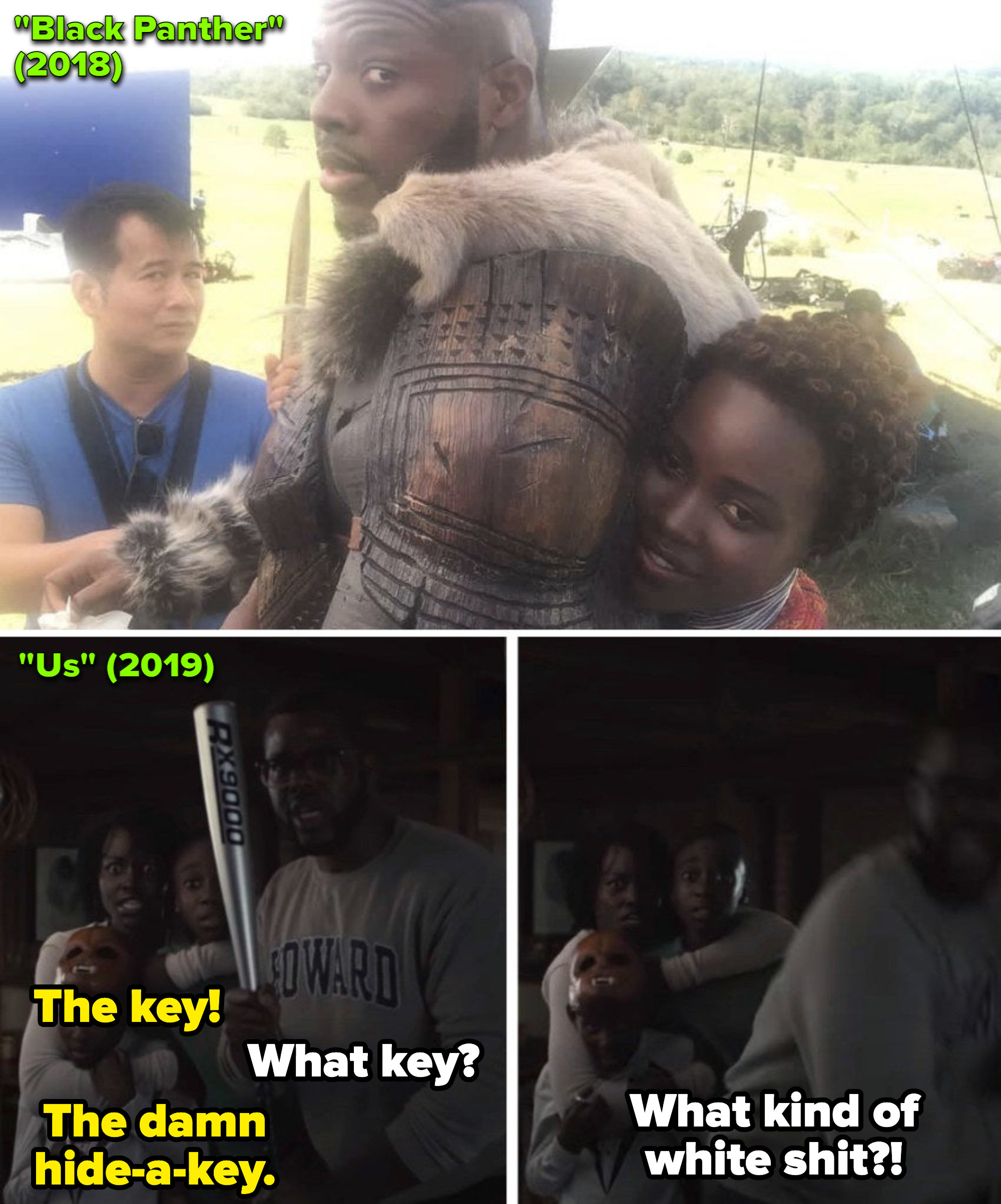 """Lupita Nyong'o and Winston Duke sitting in a chair behind-the-scenes of """"Black Panther;"""" Adelaide and Gabe in """"Us"""" looking at the unlocked door"""