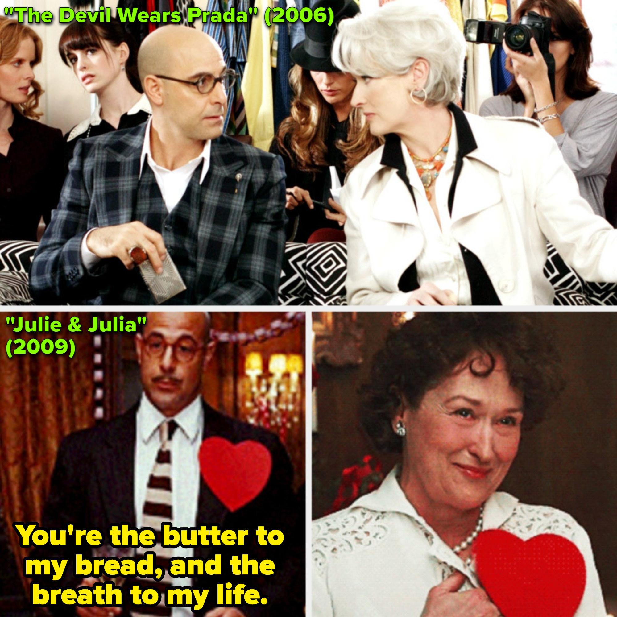 "Meryl Streep and Stanley Tucci in ""The Devil Wears Prada;"" Streep and Tucci in ""Julie & Julia"""