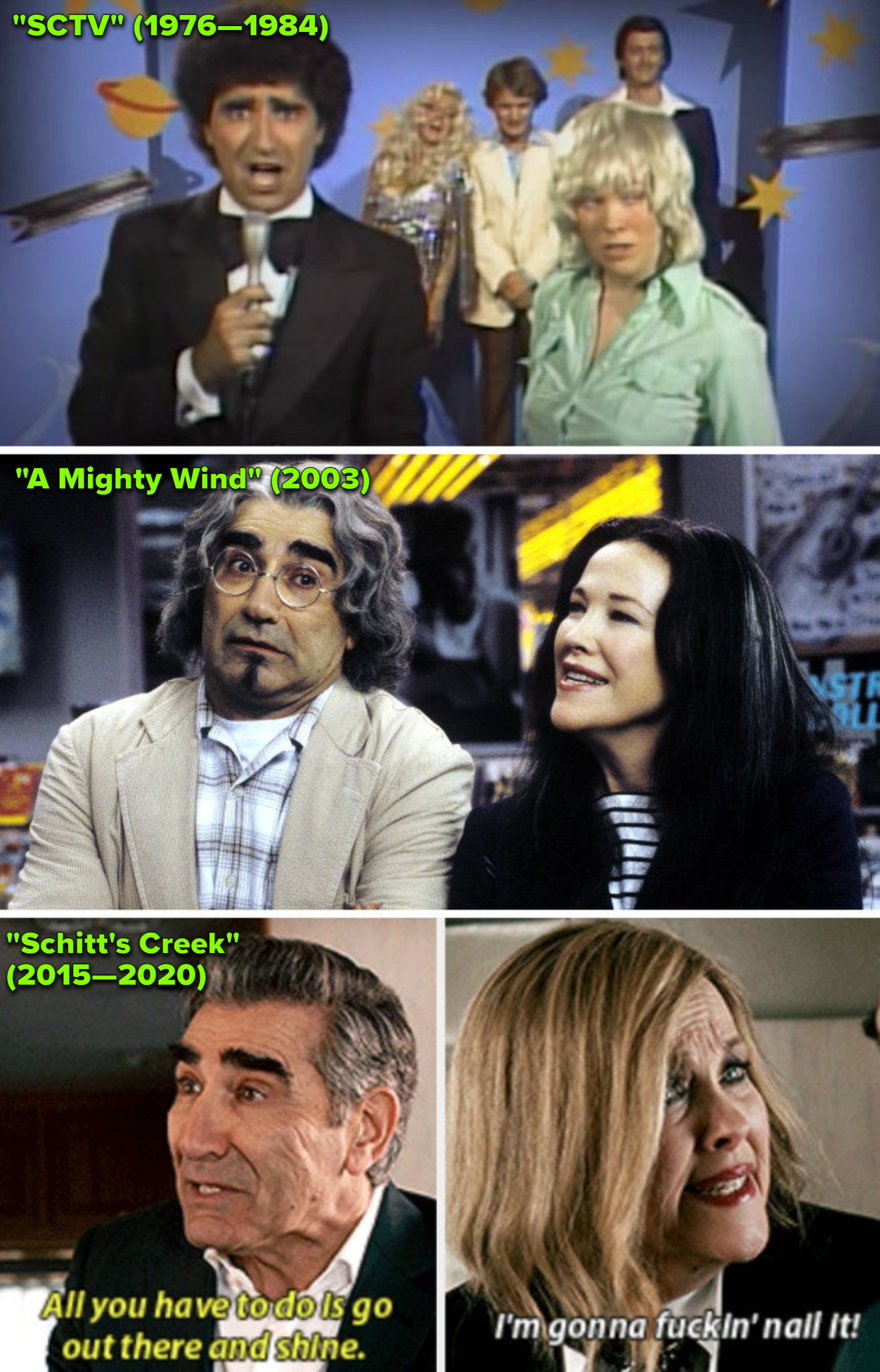"""O'Hara and Levy on """"SCTVl;"""" O'Hara and Levy in """"A Mighty Wind,"""" and O'Hara and Levy in """"Schitt's Creek"""""""