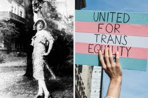 A side-by-side black and white image of Lili Elbe and a Trans Rights sign