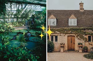 Inside a greenhouse next to a cottage, with a sparkle emoji