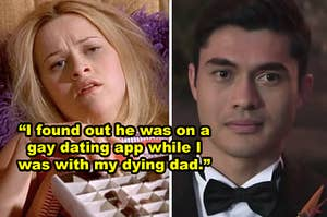 """Side-by-side of a crying Elle Woods and Henry Golding's character in """"Crazy Rich Asians"""""""