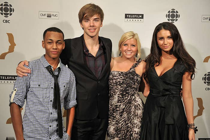 """Jahmil with """"Degrassi"""" co-stars"""