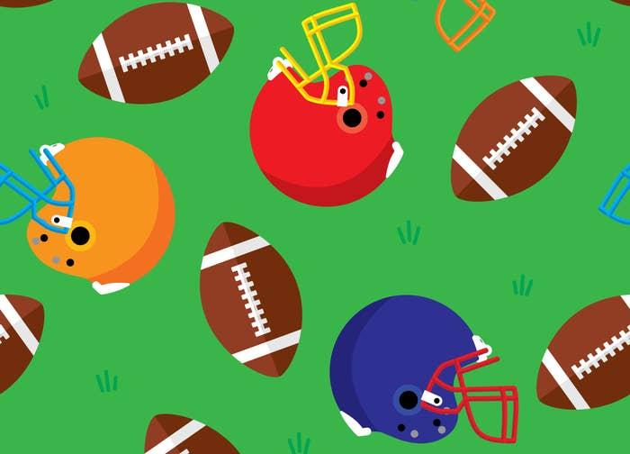 footballs and helmets cartoon