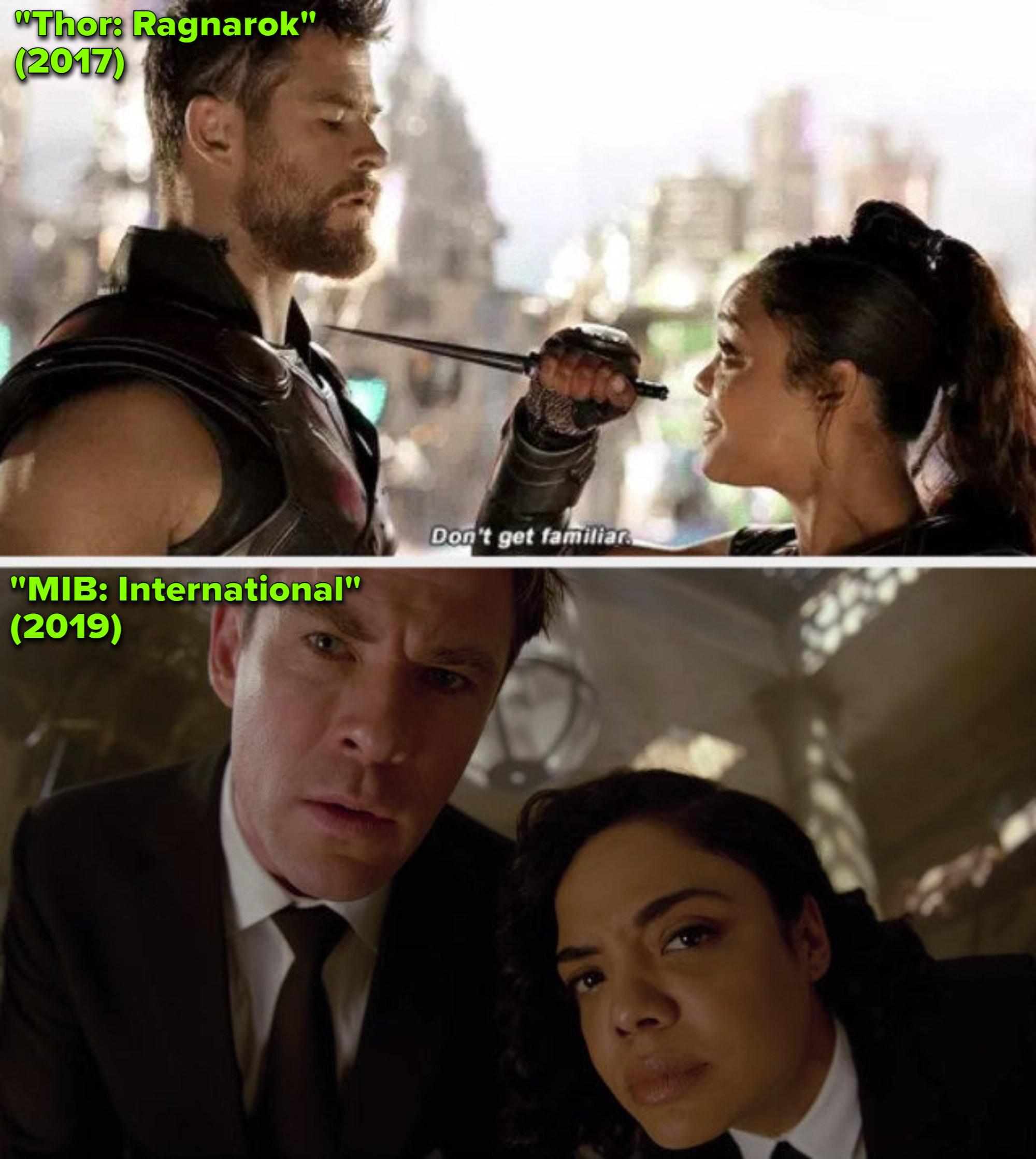 "Hemsworth and Thompson in ""Thor: Ragnarok;"" Hemsworth and Thompson in ""MIB: International"""