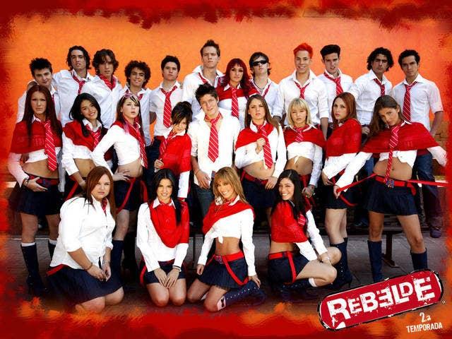 "The ""Rebelde"" cast scantily clad in their school uniforms"