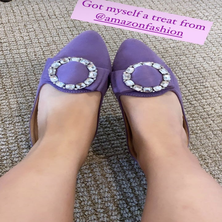 """Me wearing the lavender pointed toe slides with a rhinestone buckle, with the text """"got myself a treat from @amazonfashion"""""""
