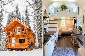 the outside of the Airbnb covered in snow and on right the inside of a tiny home