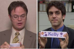 dwight taking notes on the left and ryan holding a nameplate that says kelly on the right