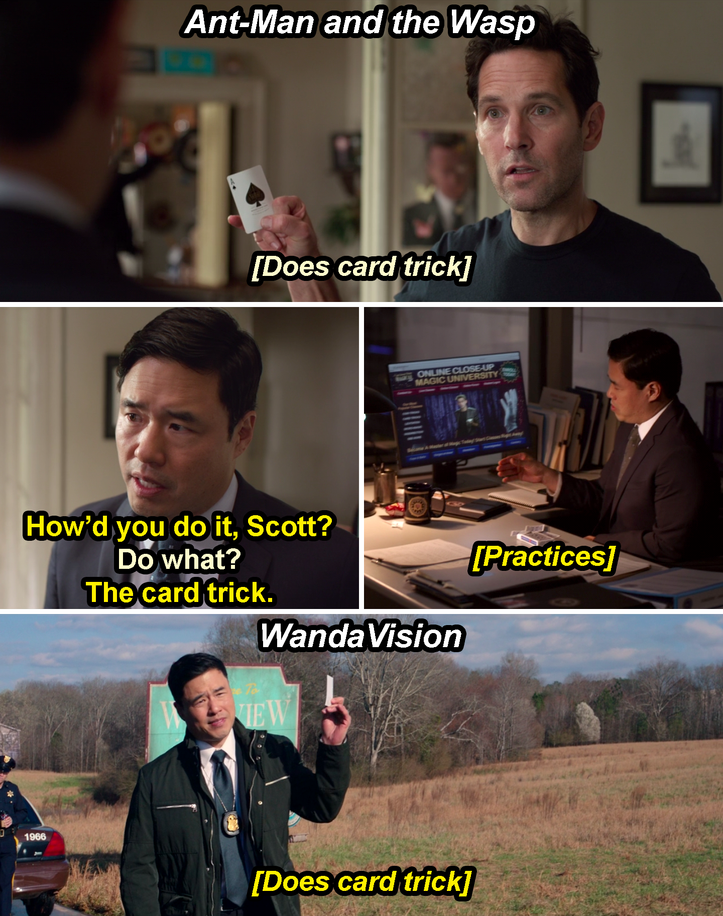 Jimmy Woo asking Scott how he did a card trick and practicing the trick in Ant-Man and the Wasp and then doing the card trick in WandaVision