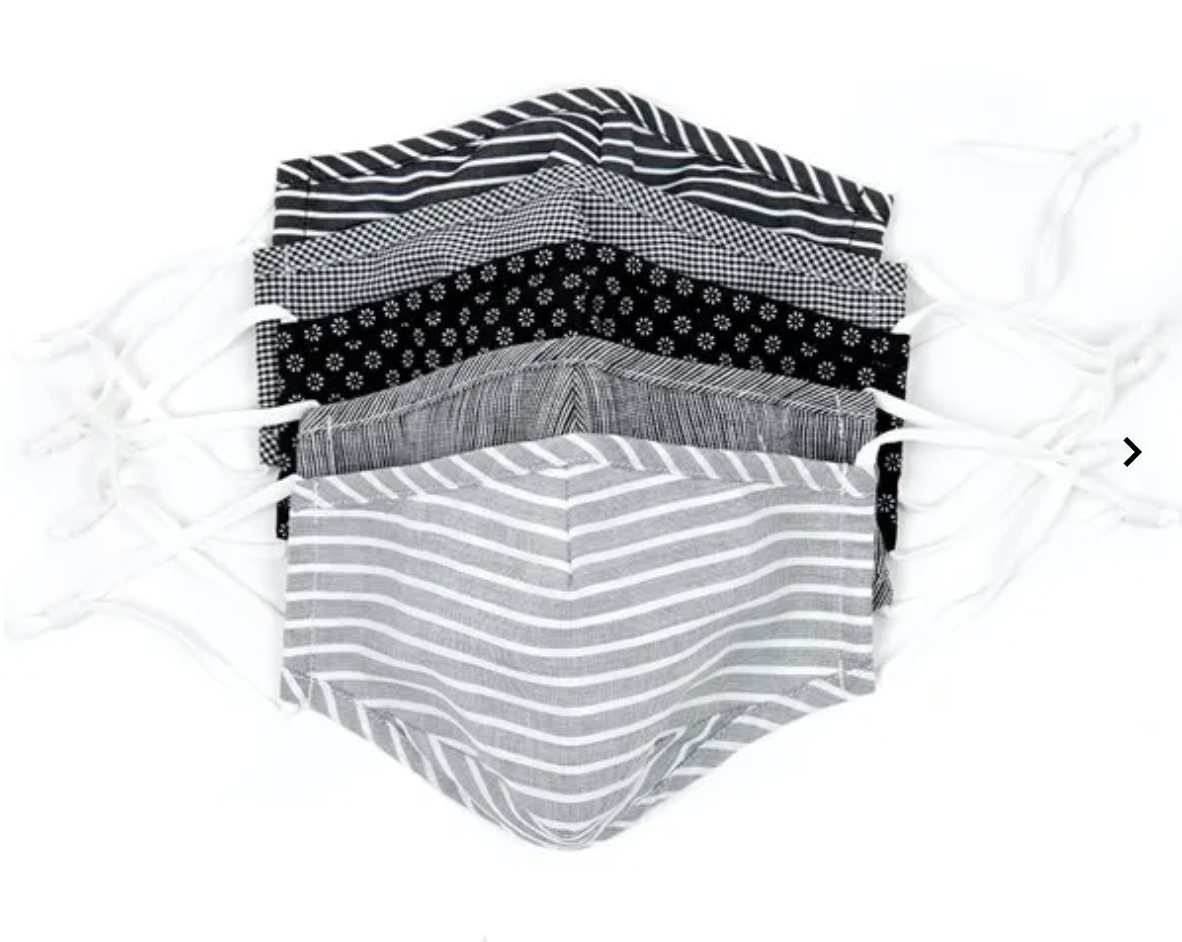 Assortment of face masks in grey, white, and black patterns
