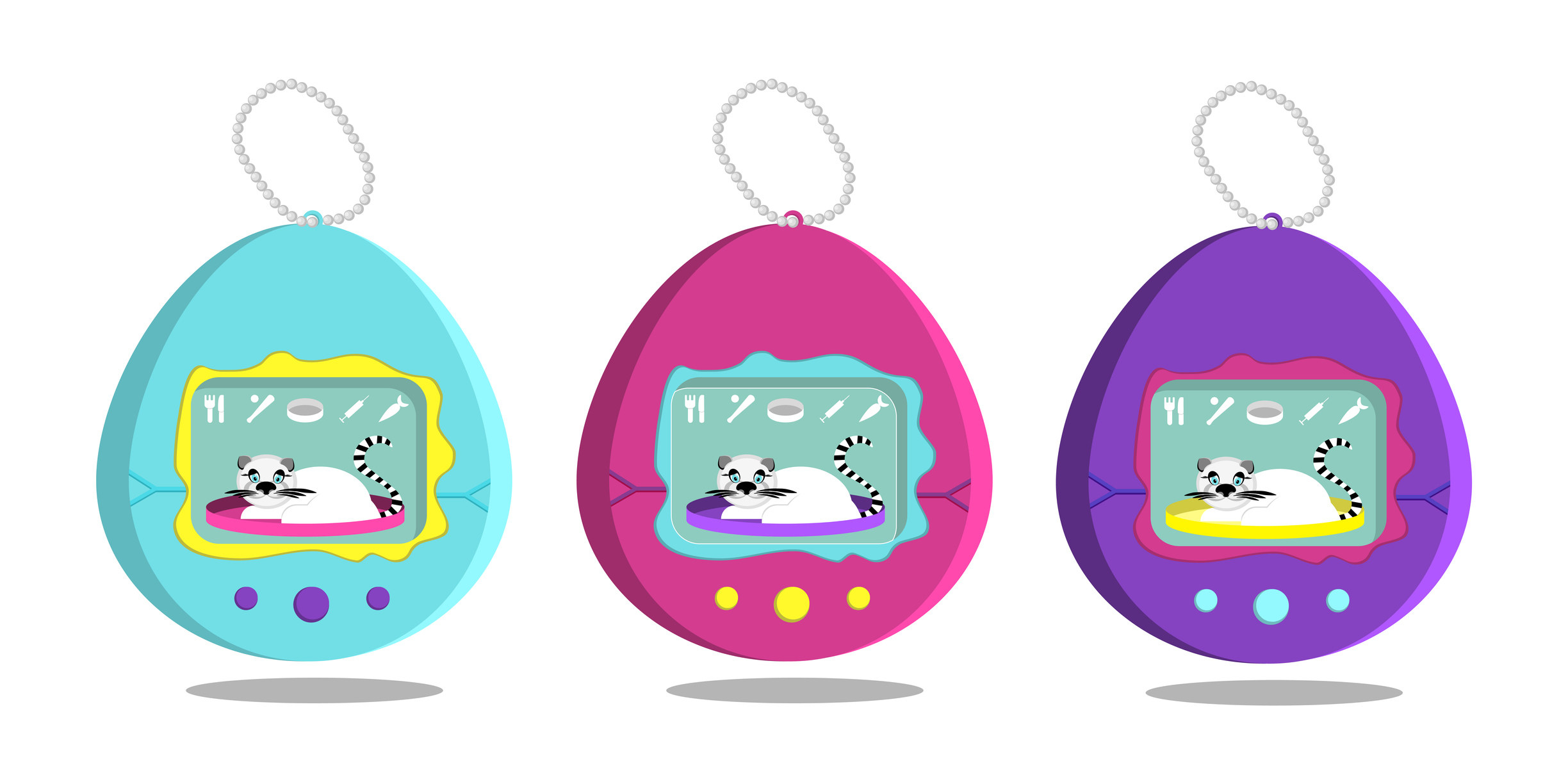 An illustration of three virtual pets from the '90s