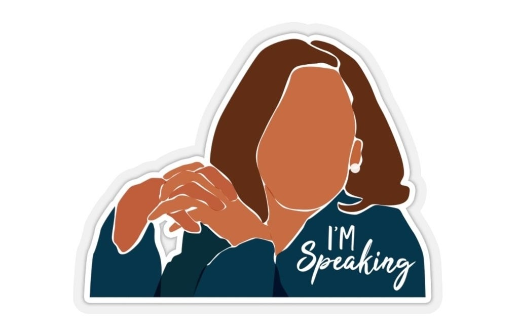 "An illustration sticker of Kamala Harris with text ""I'm speaking"""