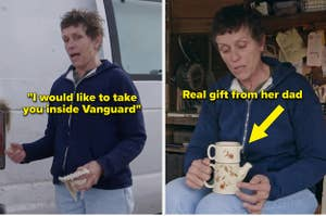 Frances McDormand showing the van and dishes from the movie
