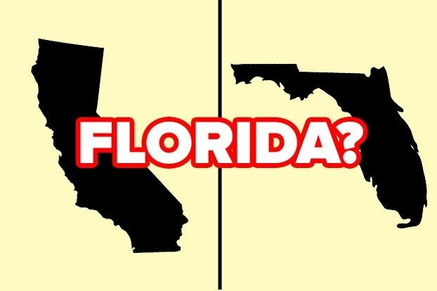 """California and Florida with the word """"Florida?"""""""