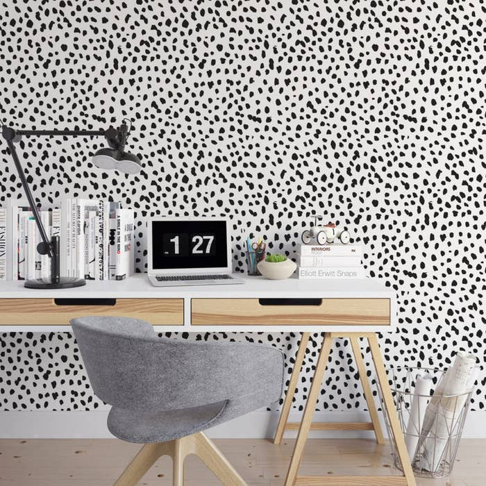 The wallpaper in a home office