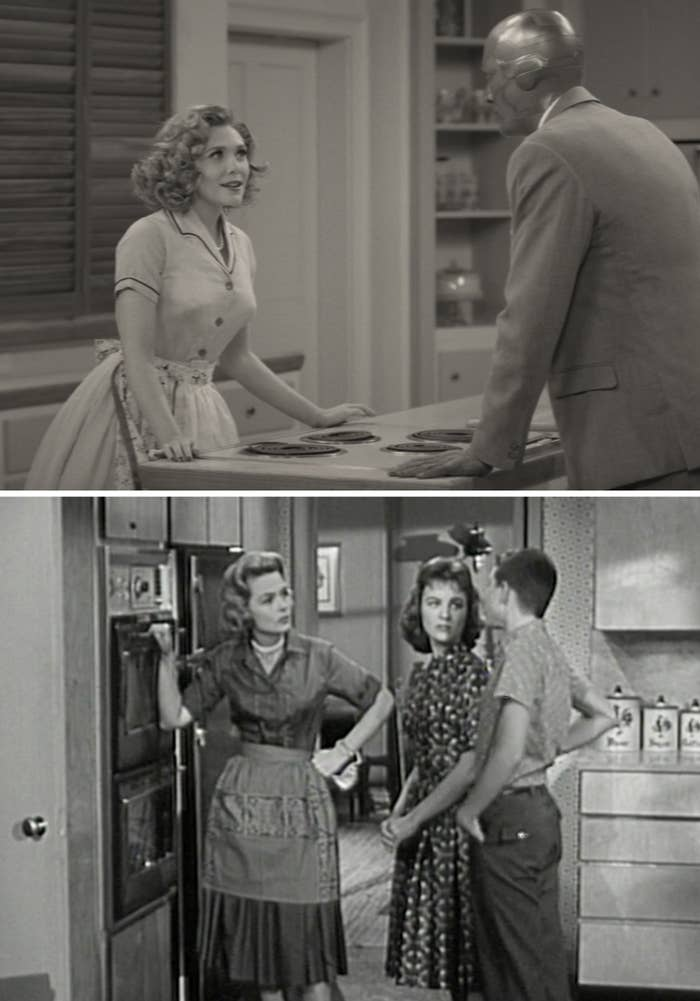 "Wanda talking to Vision in the kitchen wearing an apron and pearls vs. Donna wearing an apron and pearls in the kitchen on ""The Donna Reed Show"""