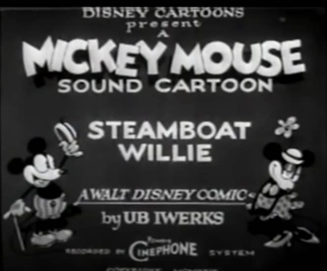 """Title card for """"Steamboat Willie"""" featuring Mickey and Minnie"""