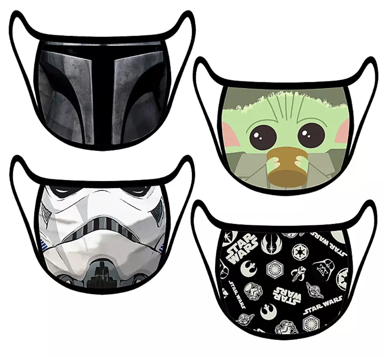 A set of Star Wars masks with Baby Yoda, a stormtrooper, the mandalorian, and a Star Wars logo print