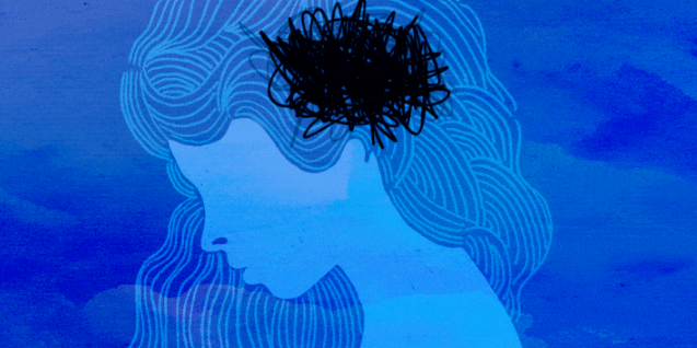An illustration of a woman looking down pensively