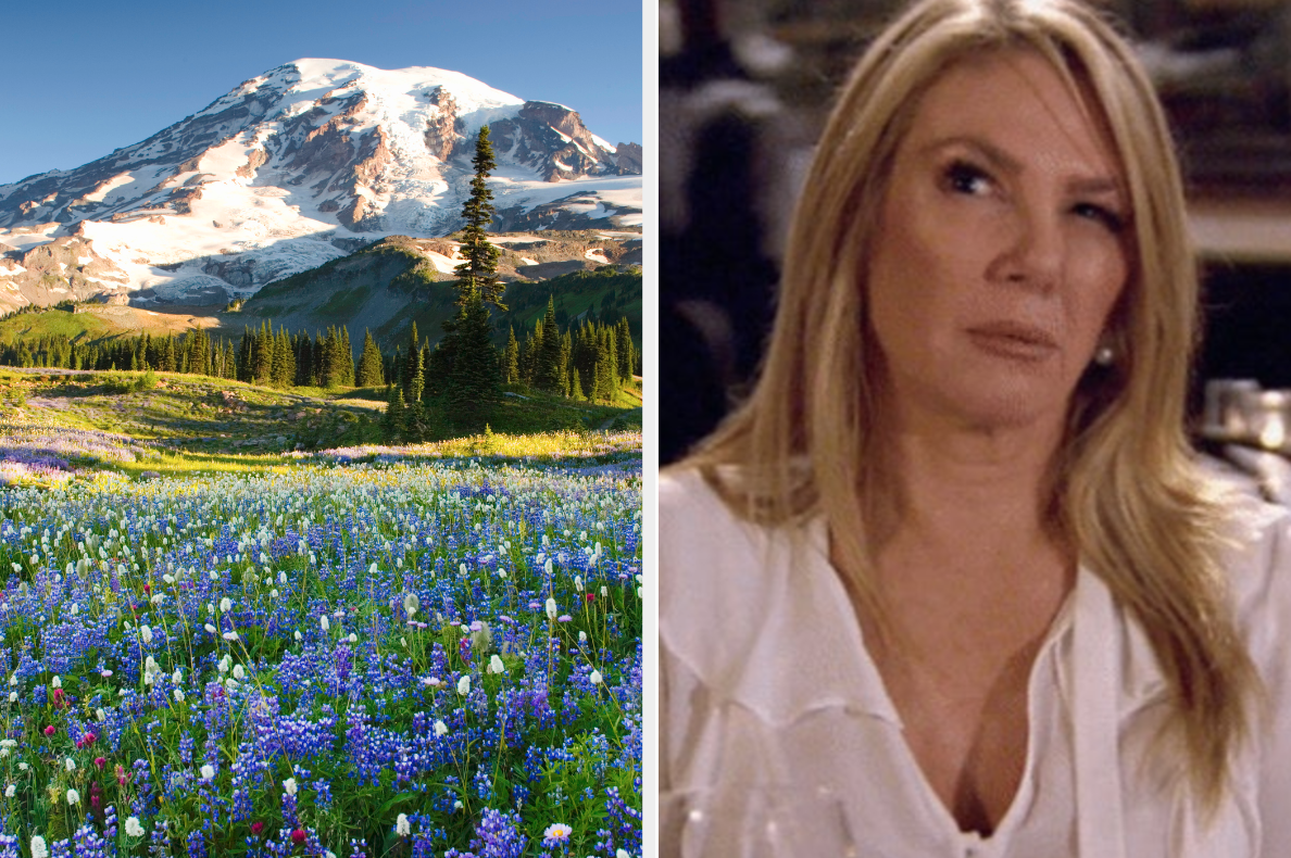 Mount Rainier and confused woman