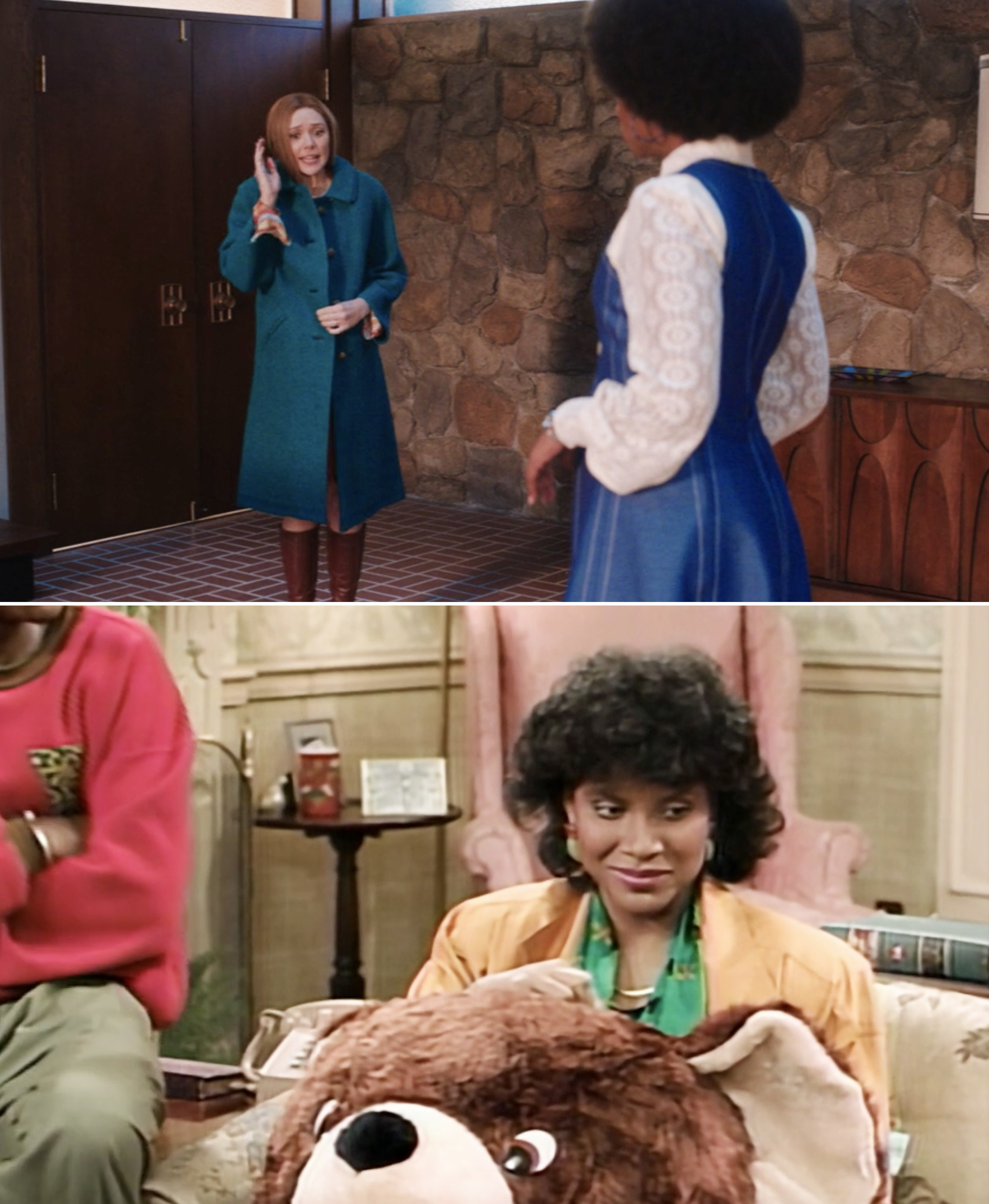 Wanda talking to Geraldine while wearing a large coat vs. Clair Huxtable sitting behind a giant teddy bear