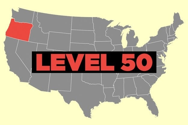 """Map of US with Oregon in red and the words """"Level 50"""""""