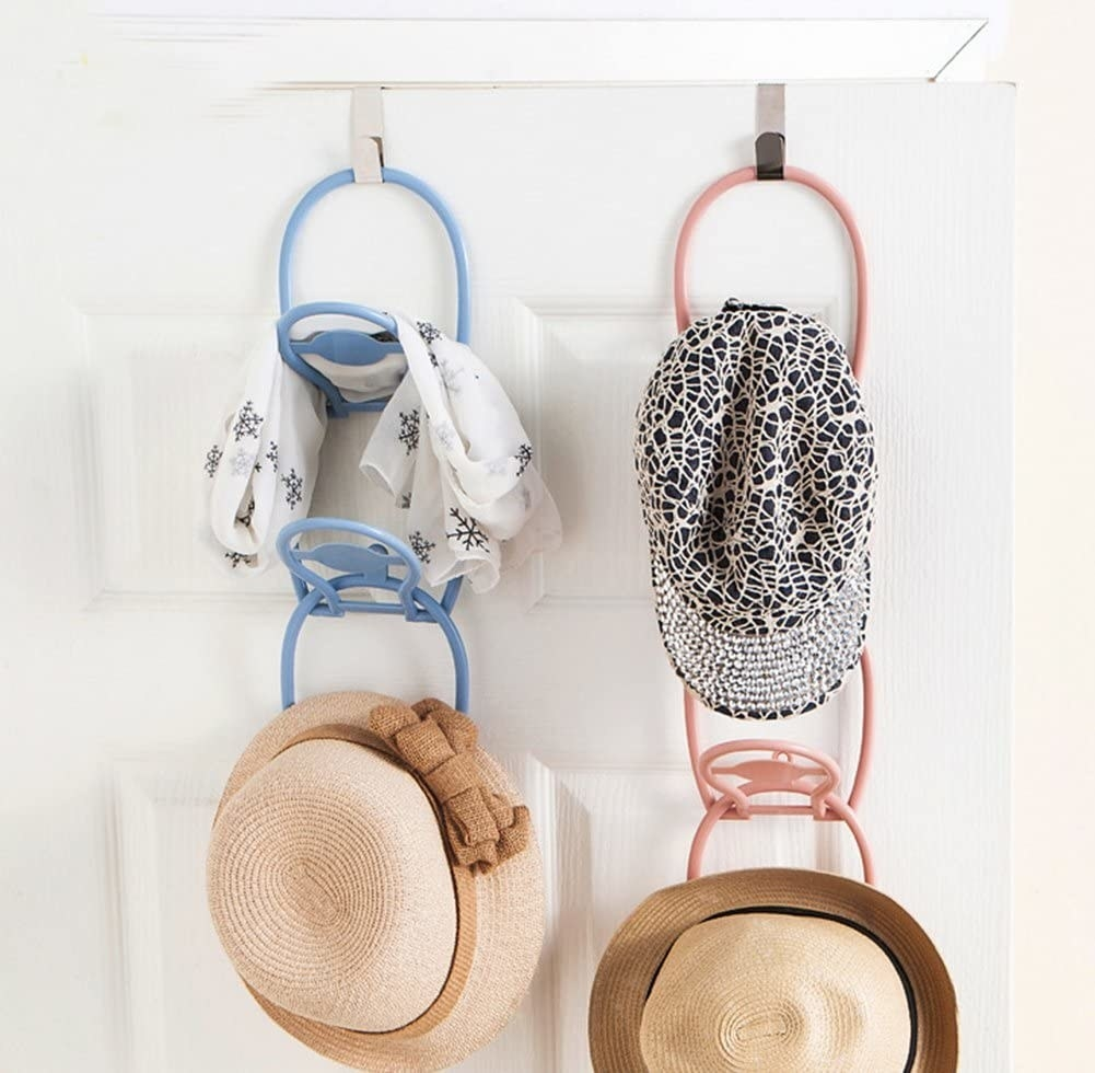 Several hats on two organizers