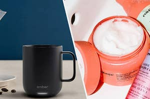 to the left: an ember mug, to the right a hair mask in a jar