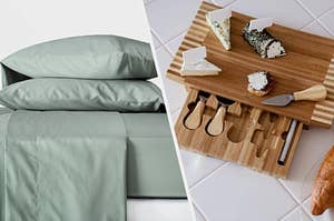 to the left: sage green pillows and sheets, to the right: a cheese board with a drawer to store cheese knives