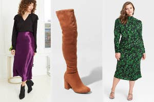 on left model wearing purple skirt, in middle over the knee boots; on right model wearing green dress