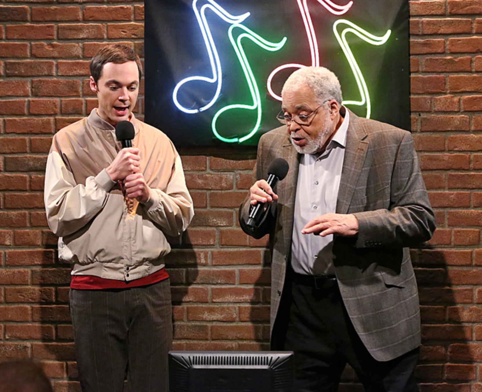 James Earl Hones singing next to Sheldon