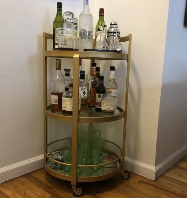 Review photo of the brass bar cart