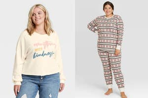 On the left, a model in a graphic sweatshirt. On the right, a model in thermal PJs