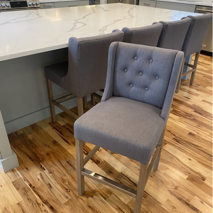 Review photo of the gray bar and counter stool