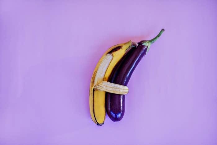 Peeled Banana and Eggplant Duo