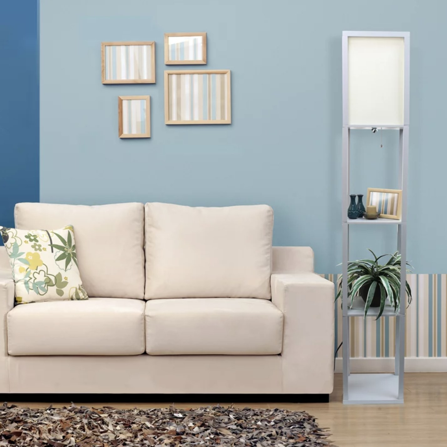 A white etagere lamp with shelves