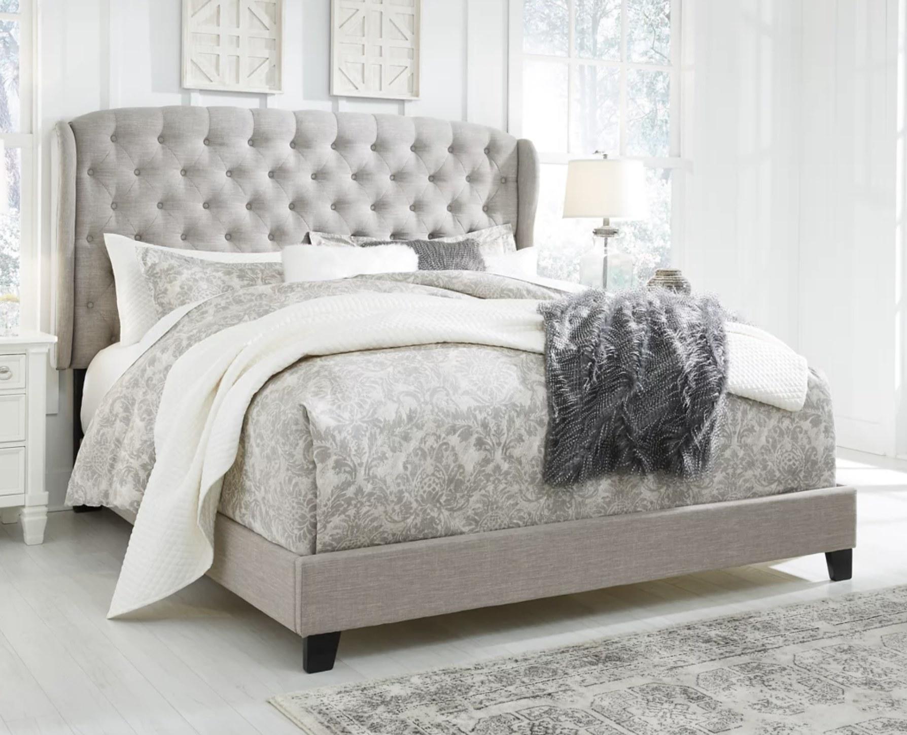 An upholstered bedframe