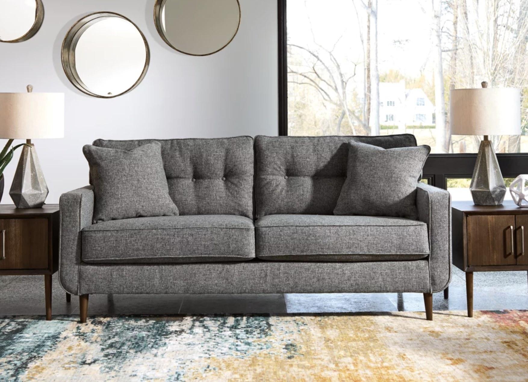 The grey sofa