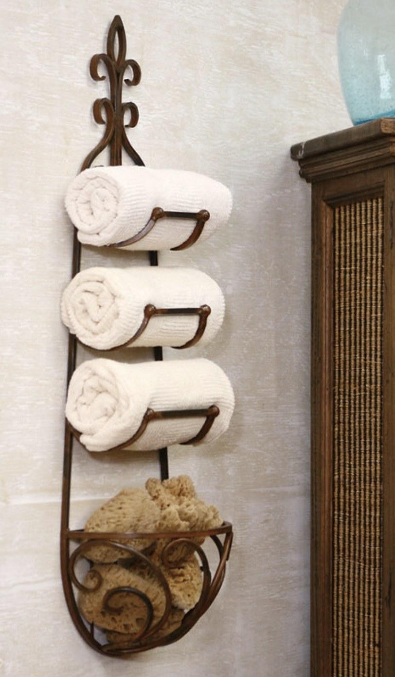 A metal towel rack