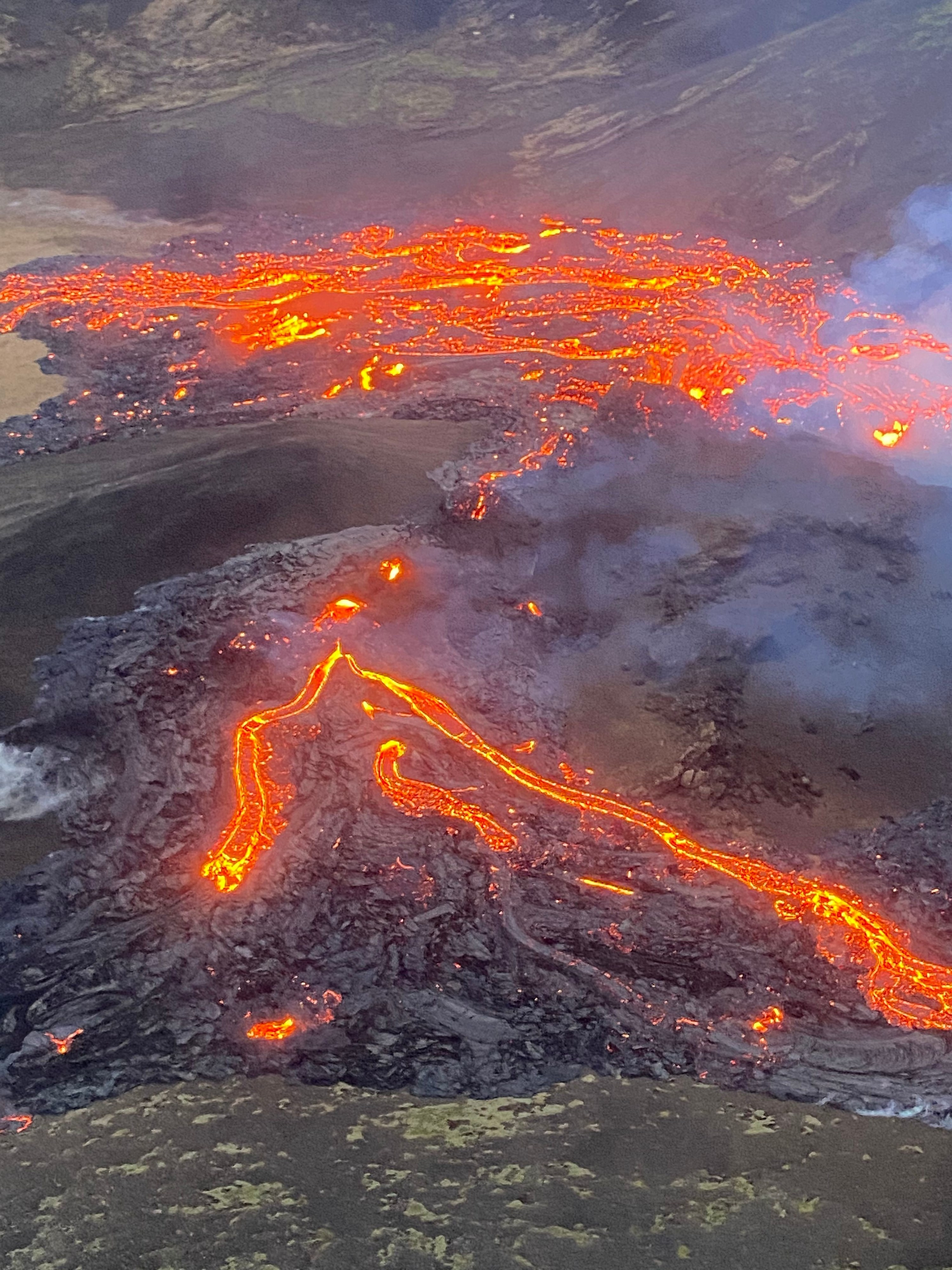 Overhead view of smoldering lava from volcano